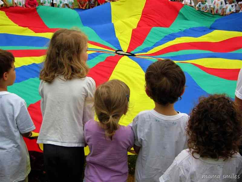 Preschool Game Day   Field Day Games for Kids parachute goodbye song at preschool game day