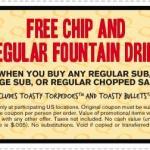 Soda y Chips GRATIS en Quiznos