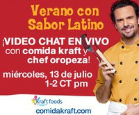 Video Chat en vivo con Kraft y Chef Oropeza el 13 de Julio en Mamá XXI