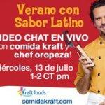 Video Chat en vivo con Kraft y Chef Oropeza el 13 de Julio en Mamá XXI