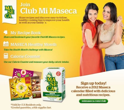 club mi maseca, calendario 2012 gratis