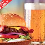 Cupón de Chili's por: 2 hamburguesas, 2 cervezas y papás sin límites a $20