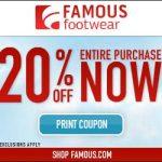 Cupón de 20% off en Famous Footwear: oferta de Memorial Day