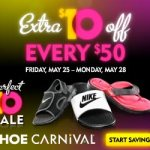 Ahorra $10 con tu compra de $50 en Shoe Carnival, promoción de Memorial Day