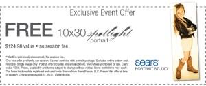GRATIS: Sears Retrato Spotlight 10×30 (valor $124.98)