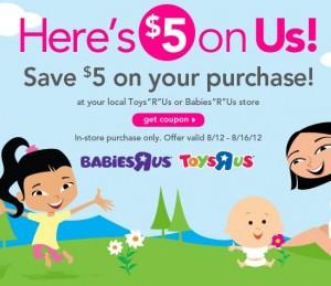 Cupón $5 of en Toys 'R Us o Babies 'R Us