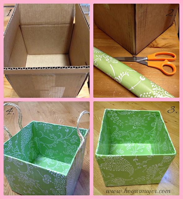 Diy contenedores con cajas de cart n mama xxi - Forrar cajas de carton con telas ...