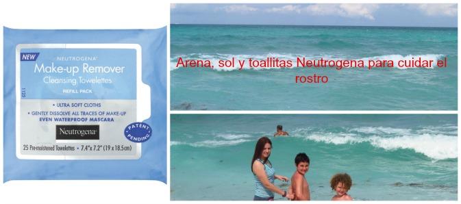 arena, sol y neutrogena