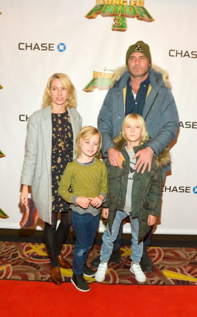 """NEW YORK, NEW YORK - JANUARY 16: (L-R) Naomi Watts, Samuel Schreiber, Alexander Schreiber and Liev Schreiber attend a screening of """"Kung Fu Panda3"""" at AMC Loews Kips Bay 15 theater on January 16, 2016 in New York City. (Photo by Steven A Henry/WireImage)"""