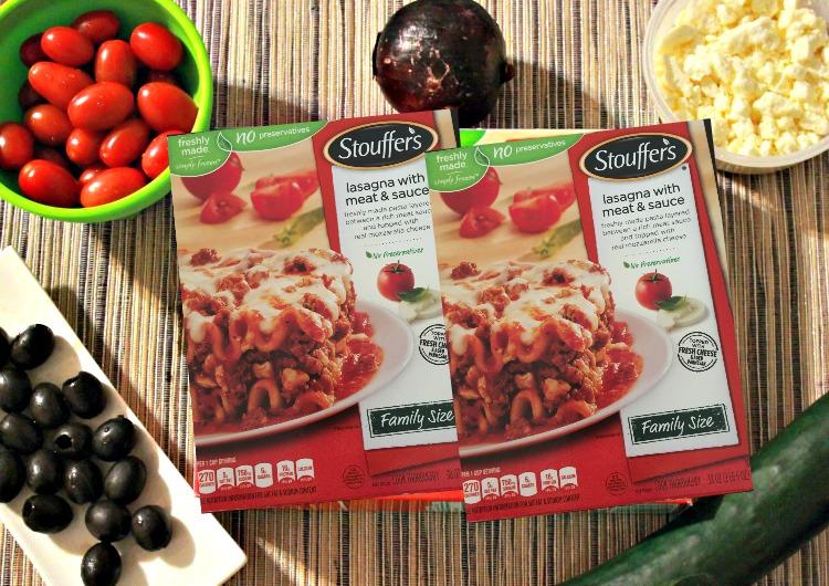 receta, ensalada griega, lasagna, stouffer's, comida
