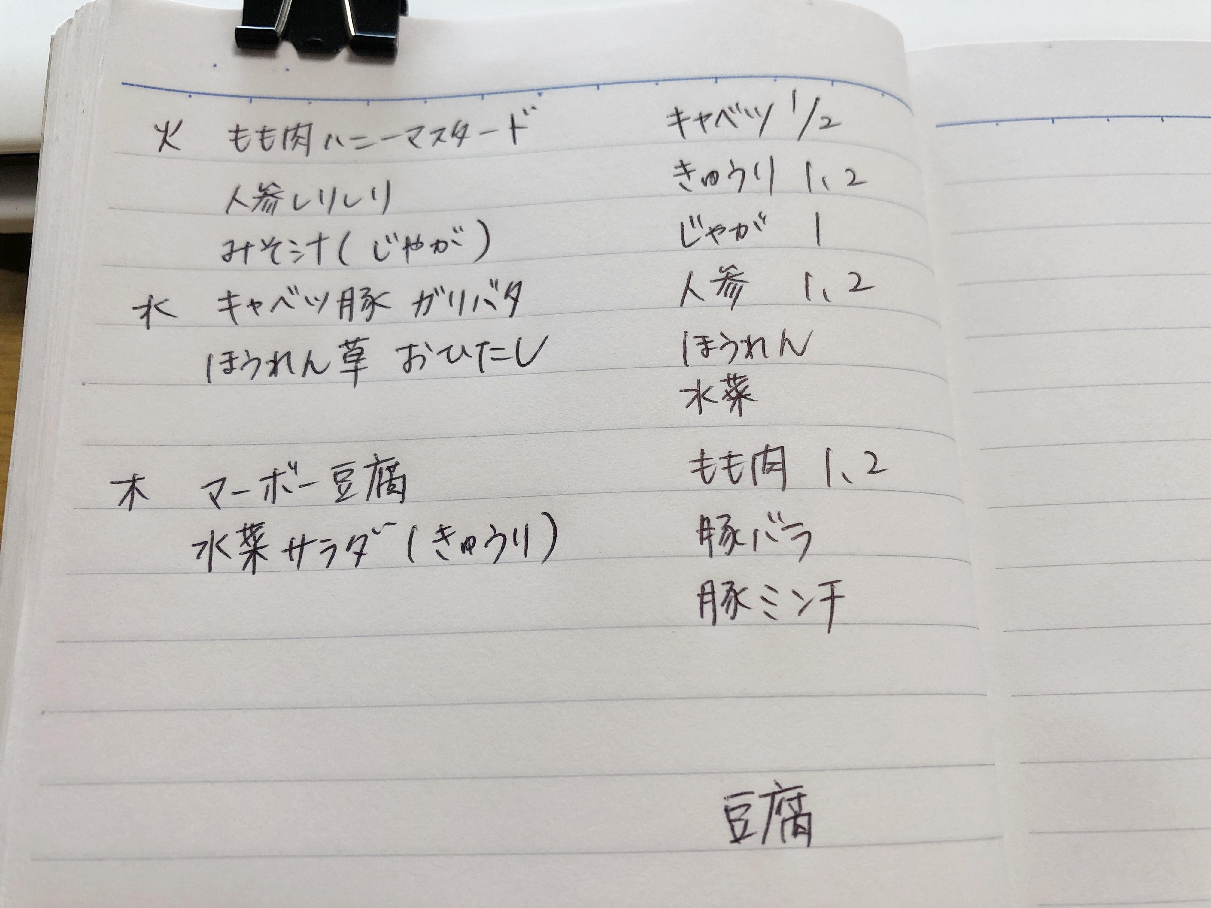 献立ノートの簡単な書き方。食材使い切り、節約、ノンストレスがかなう