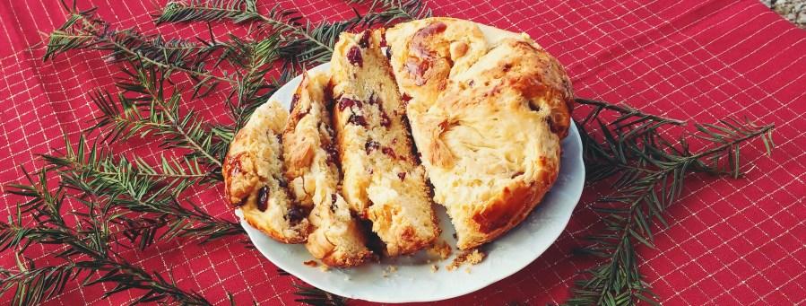brioche de noël aux cranberries et chocolat blanc
