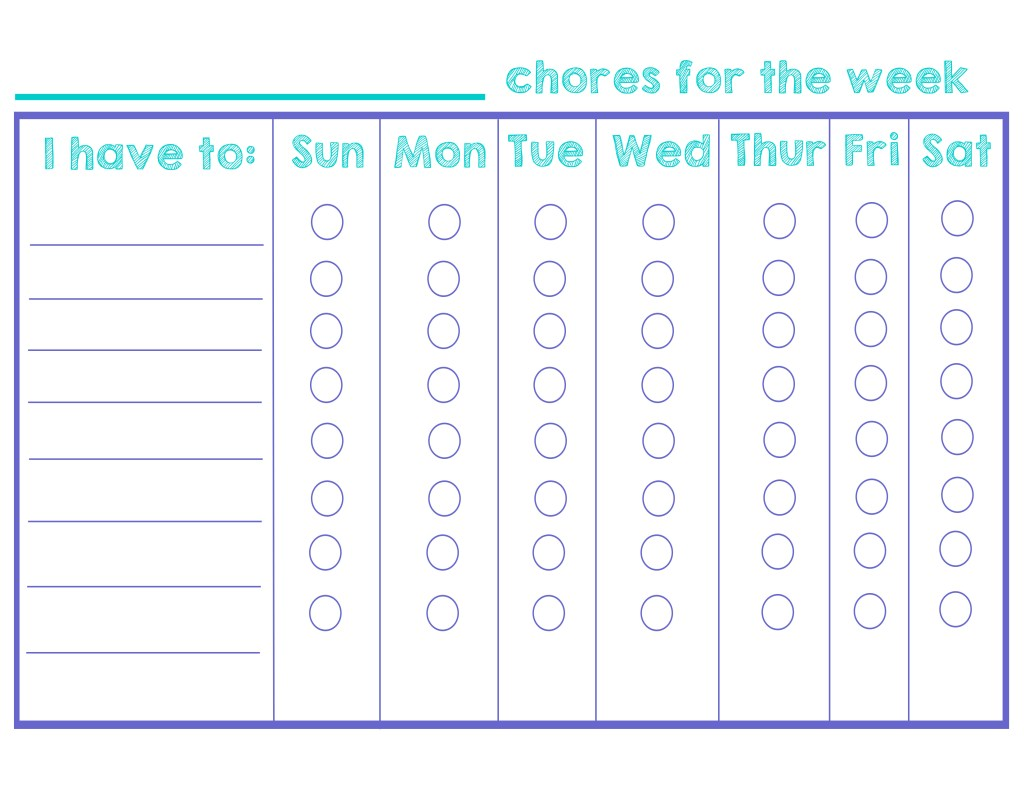 Chore chart- weekly - girly- printable