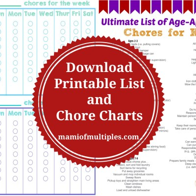 Age-Appropriate Chores for Kids and Printable Chore Charts