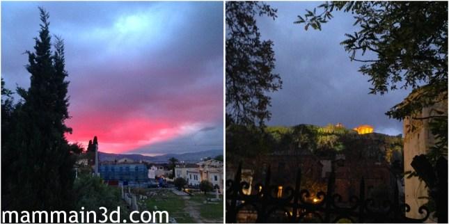 Atene al tramonto scendendo da Plaka a Monastiraki