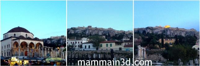 Atene: l'Acropoli vista da Monastiraki all'imbrunire