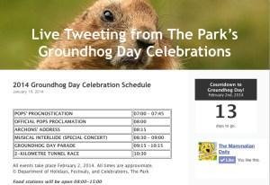 Groundhog Day Schedule 2014
