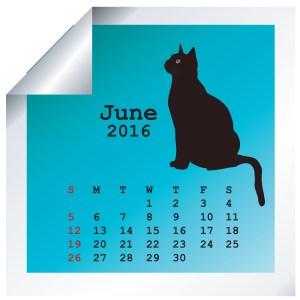 June 2016 calendar with black cat silhouette