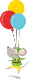 Mouse and balloons
