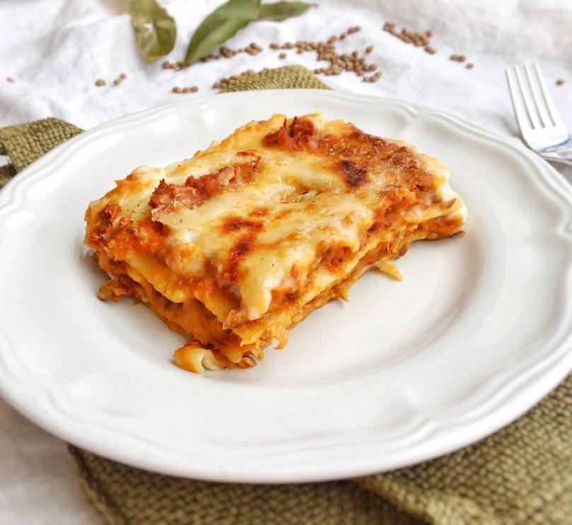lasagne con ragù di lenticchie, ricetta, vegan, vegetariana, bambini