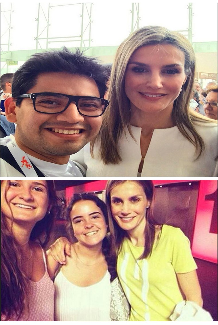 Queen Letizia poses with well-wishers. Photos: Twitter