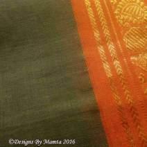 Dark Green Sari Fabric With Paisley Border