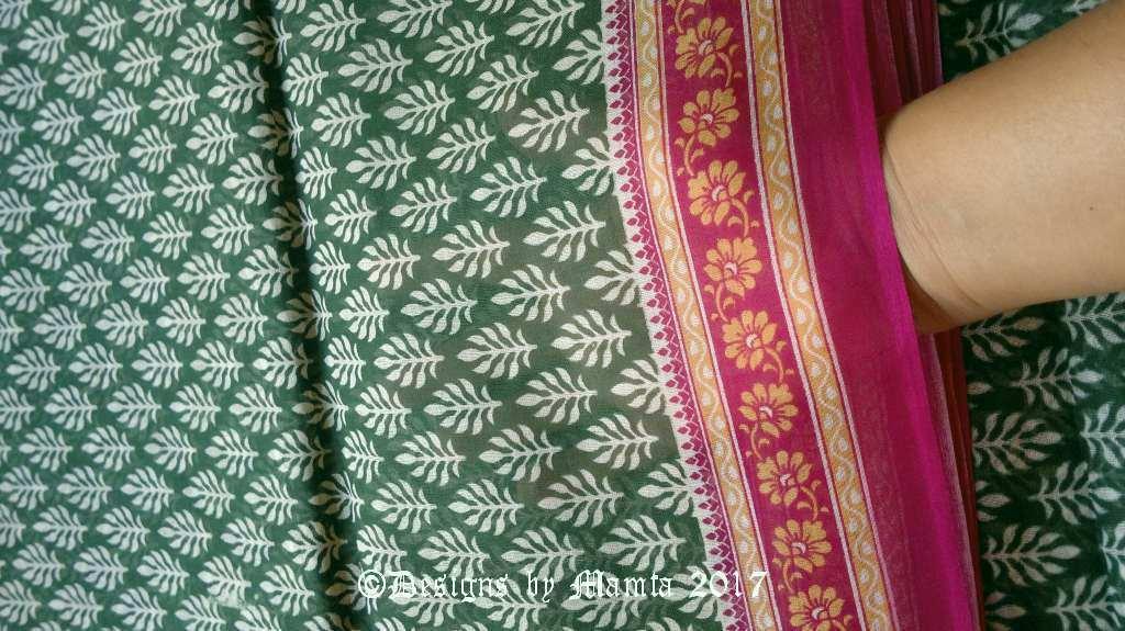 Green Floral Print Indian Sari Fabric