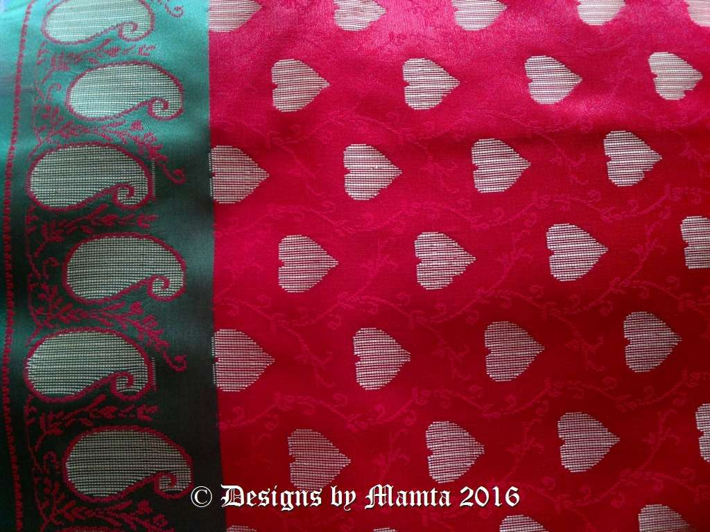 Hand Woven Red Hearts Sari Fabric