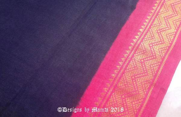 Navy Blue Indian Sari Fabric By The Yard