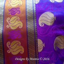 Purple Gold Paisley Sari Fabric By The Yard