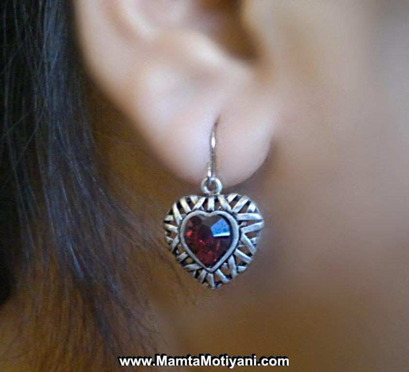 Red Ruby Heart Earrings