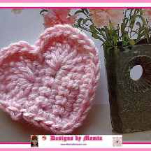 Valentine Love Heart Applique Crochet Pattern