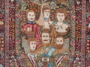 Alfombra con retratos del Kaiser Guillermo II y su familia. Persia. Principios del Siglo XX
