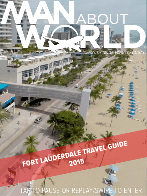 Check it out in the ManAboutWorld app — the cover is animated, the result of a aerial drone's videotaping the be beach, in ManAboutWorld gay travel magazine