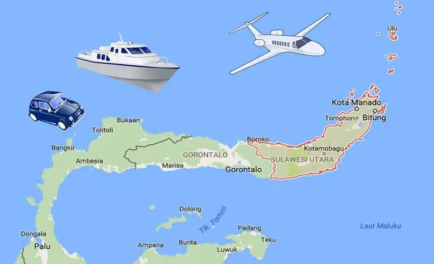 Jarak dari Manado ke Beberapa Kota di Sulut