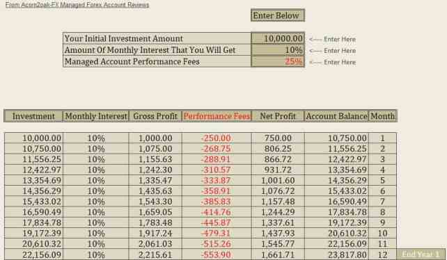 10,000 Capital - 10% Monthly Profit -25% Performance Fee