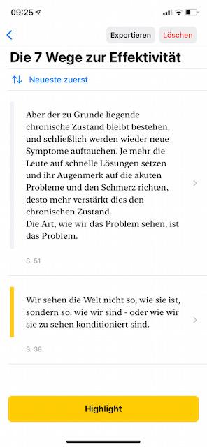 Screenshot der App highlighted - Anmerkungen und Notizen zu Büchern machen
