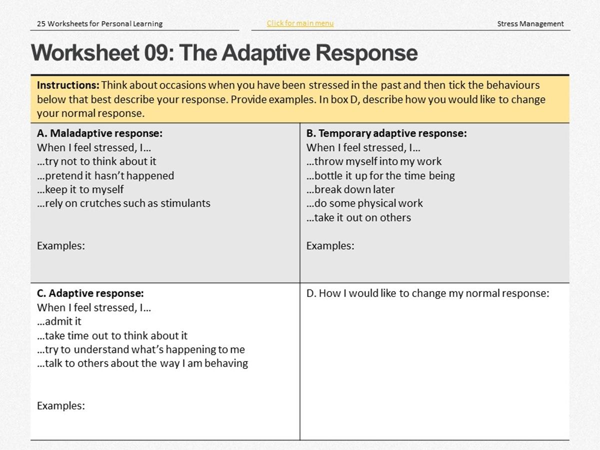 25 Course Worksheets Stress Management