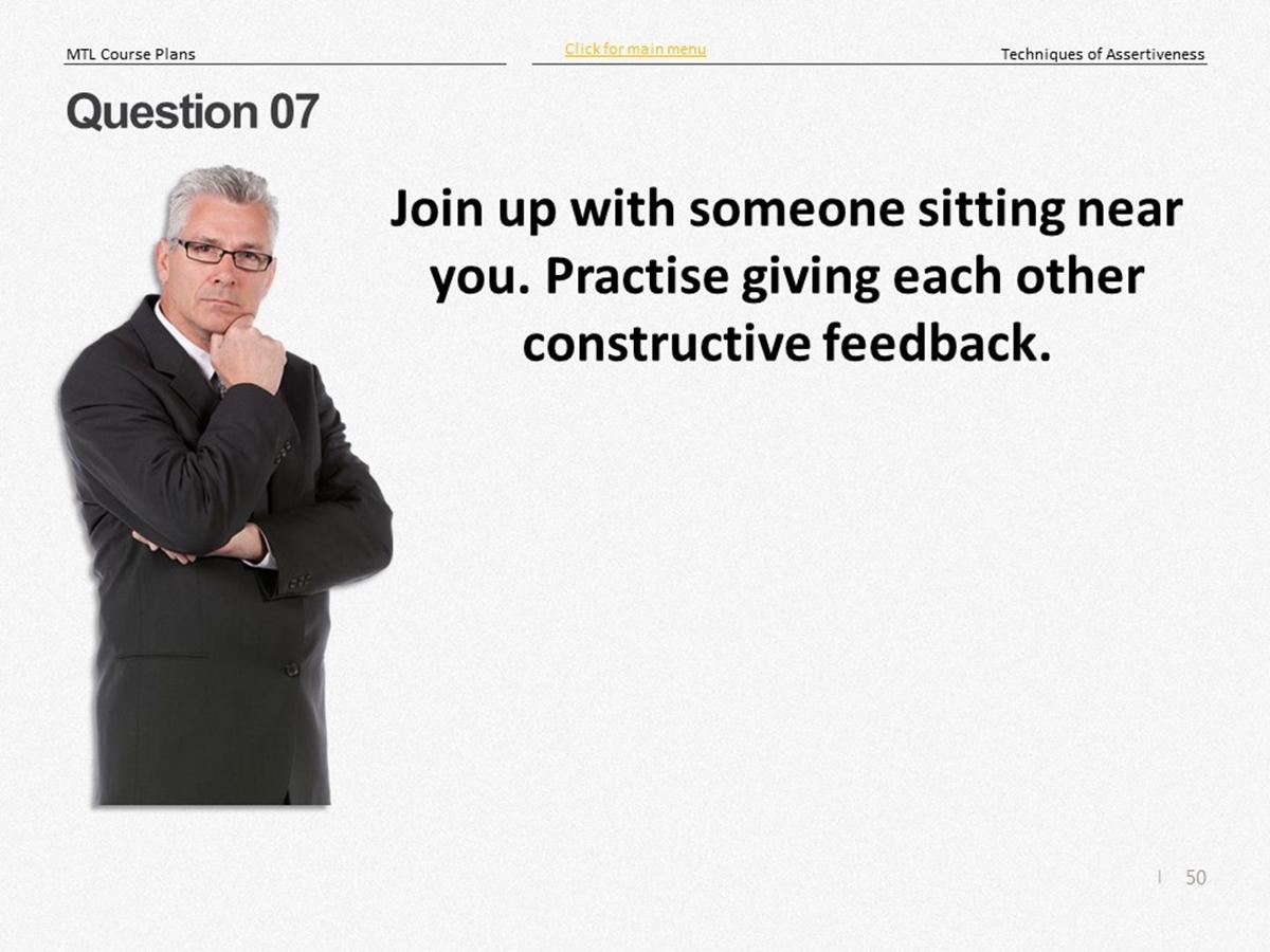 Mtl Course Plans Techniques Of Assertiveness