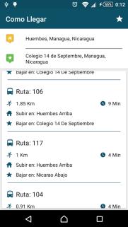 La aplicación muestra las paradas donde uno puede agarrar un bus.