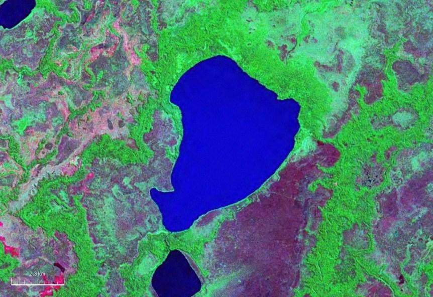 Satellite image of Laguna San Antonio, Bolivia. NASA image