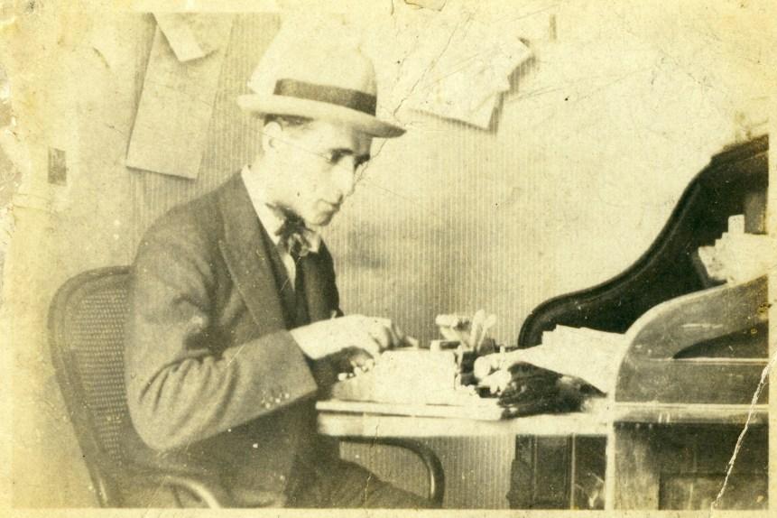 Luis enrique Osorio at his typewriter in 1922 (from Osorio family album)