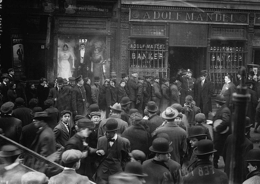 Run on East Side Bank, N.Y. 1912 February 16. Bain News Service via Library of Congress.