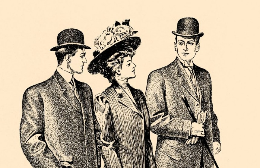 Victorian woman walking between two men in bowlers. Vintage Field and Garden, small business / blog license.