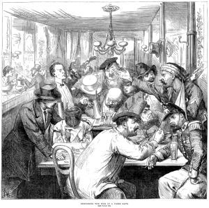 Illustrated London News, September 17, 1870 - Discussing the War in a Paris Café. From Wikimedia commons. Public Domain.