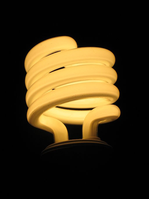 Illuminated incandescent replacement curly fluorescent light bulb