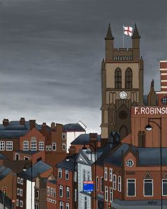 Manchester hillside rooftops urban landscape print by local artist Lucy Burgess