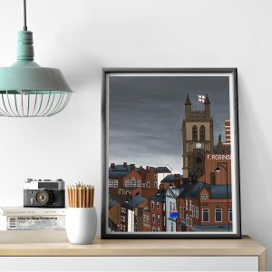 Manchester illustration by local artist Lucy Burgess. Grey sky, brown buildings. Windows and rooftops. Art, wall art, poster, print.
