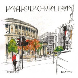 Illustration of Manchester Library on St. Peter's square by local sketch artist Liz Scribbles