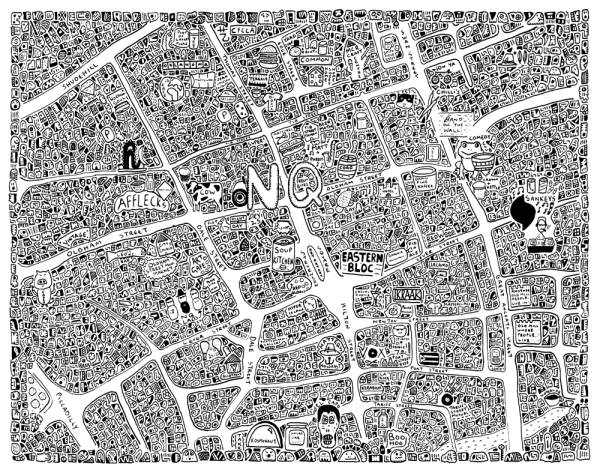 Doodle map of the Northern Quarter in Manchester by Dave Draws